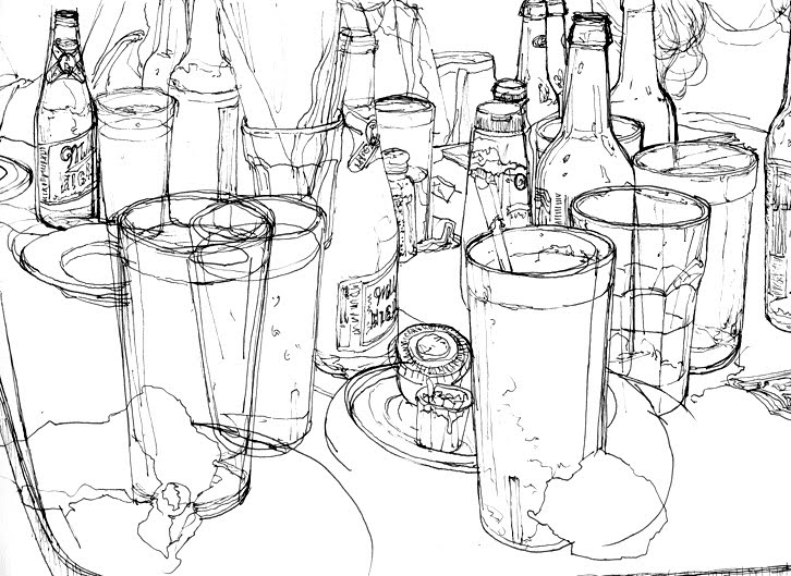 Drinks Drawing Drawing Over Drinks