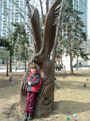 [Photo: Nicky with eagle at College Park.]