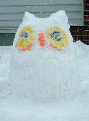 [Photo: owl snow sculpture © Nicky Sztybel and Rosemary Amey.]