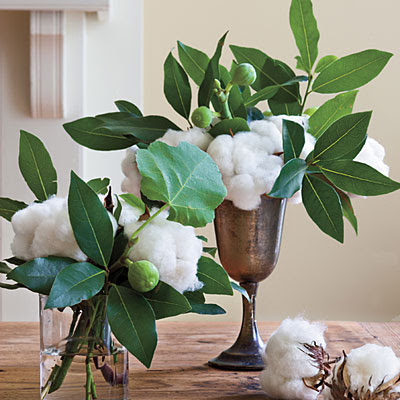 Cotton and other natural elements for a table centerpiece.