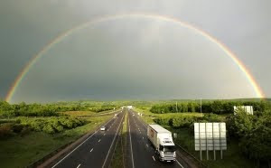 Rainbow over motorway