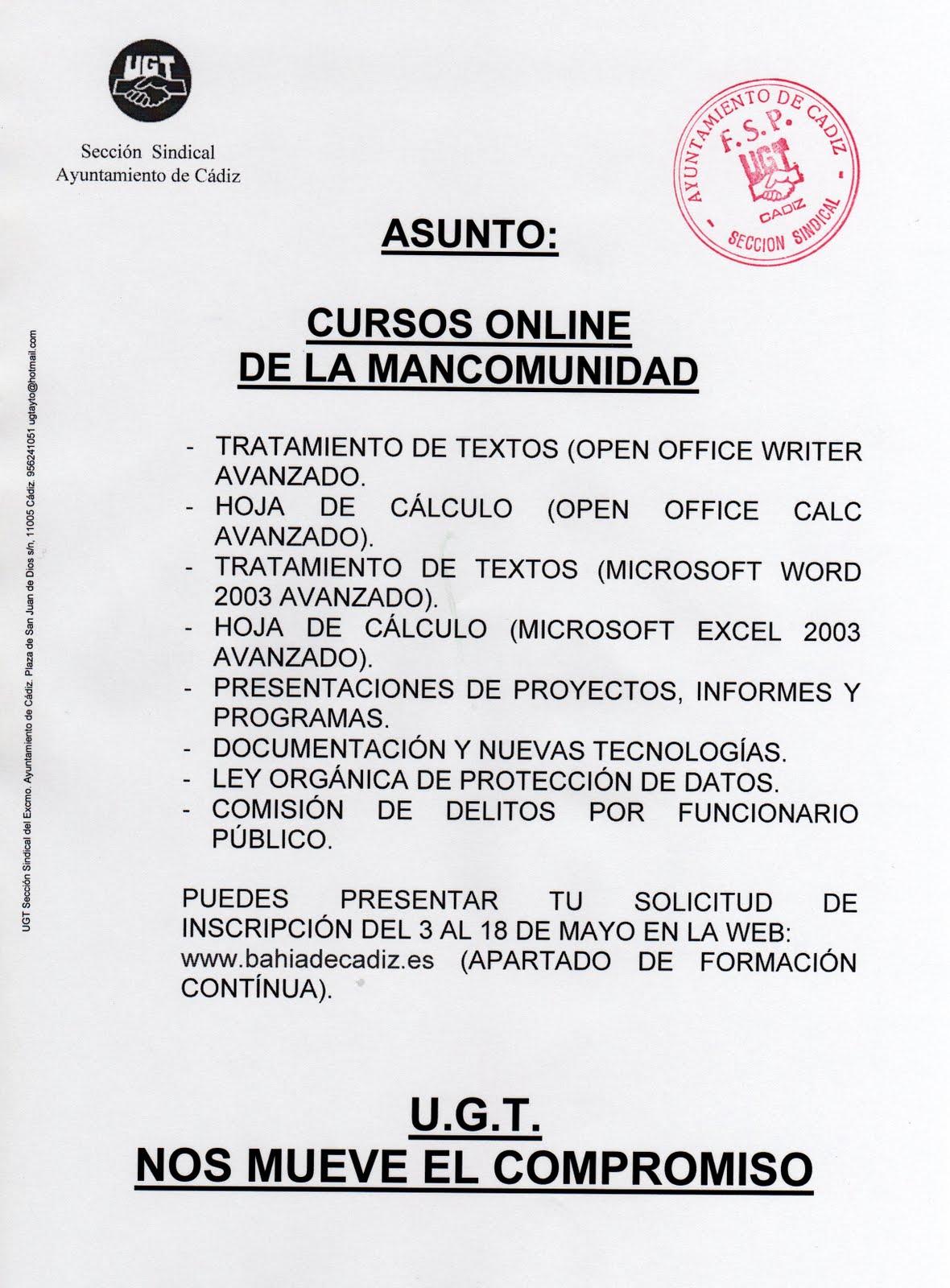 Secci n sindical del ayuntamiento de c diz cursos on line for Ayuntamiento de cadiz recogida de muebles