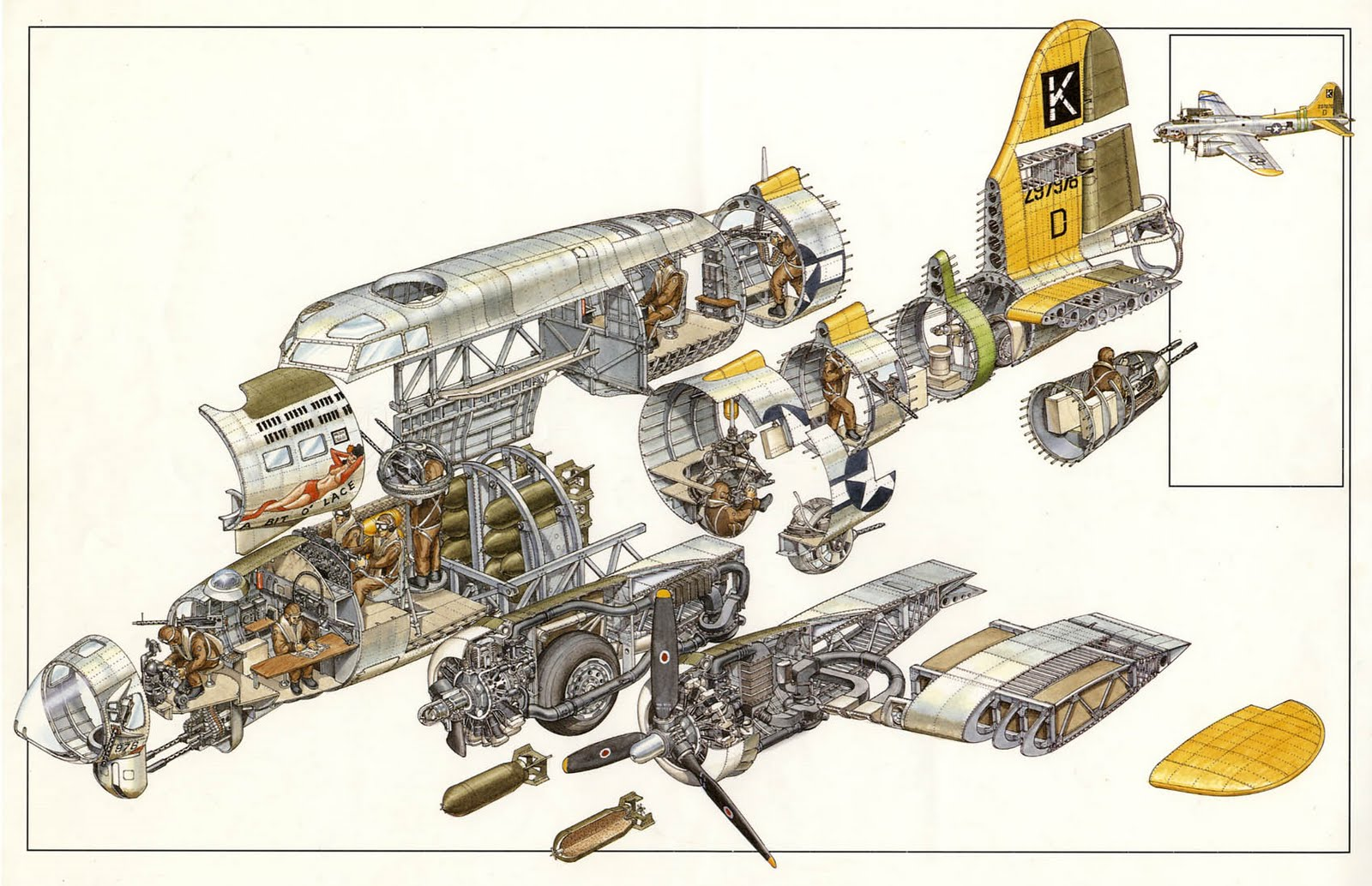1945 liberator aircraft cutaway and planes rh pinterest com Boeing B-17 Flying Fortress Engines B-29 Engine Specs