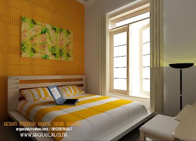 Interior Kamar Tidur Kecil Kuning Ceria