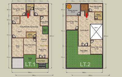 Desain Denah Rumah 2 lantai di Atas Lahan 144 m2 Alternatif 2