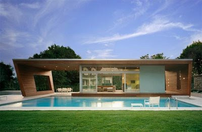 Exterior of Minimalist Pool House Design