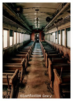 Interior of old railroad car