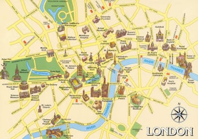 hi look at this tourist map of london would you like to go to london there are lots of interesting places there if you go to london or to any other