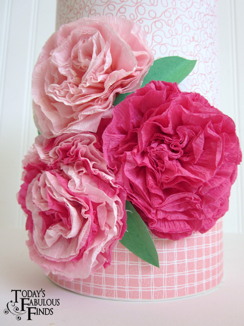 Todays fabulous finds crepe paper flowers and girls valentine boxes the leaves are cut from construction paper then bent in half to give them some dimension the flowers are made from crepe paper streamers mightylinksfo