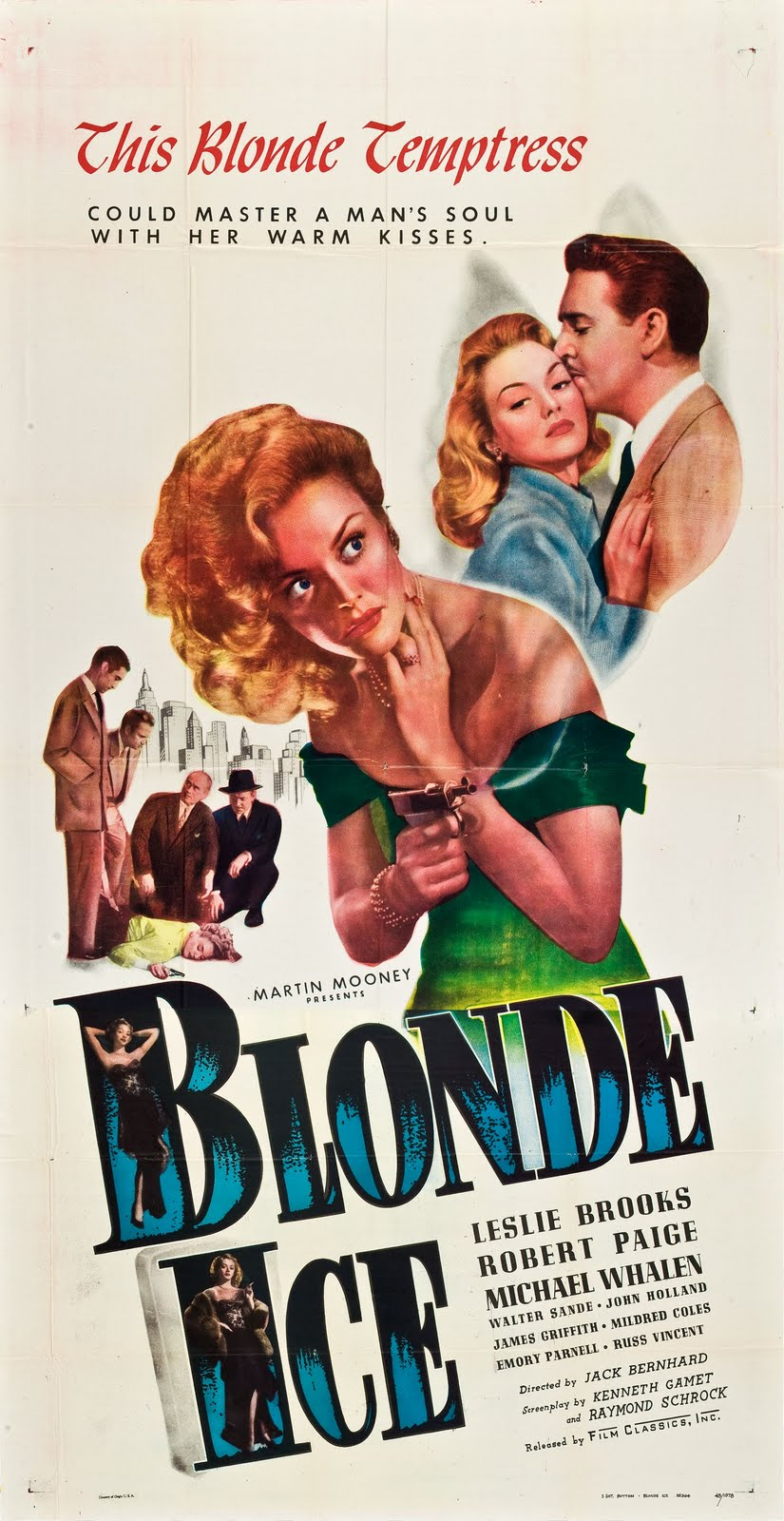 Blonde Ice Vintage 1948 Film Poster Starring Robert Paige, Leslie Brooks, Russ Vincent, with Michael Whalen