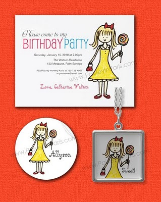 birthday party invites for girls. Lollipop Birthday Party