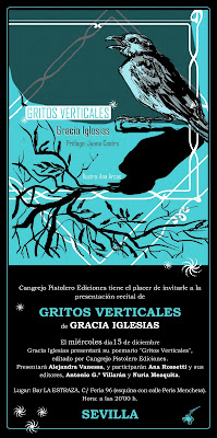 Presentación Gritos Verticales Gracia Iglesias Nuria Mezquita Antonio Villarán Ana Rossetti Alejandra Vanessa La Estraza calle Feria poesía performance perforecital Sevilla
