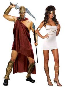 Roman Couples Costume Spartan and Oh My Goddess Couples Costume Idea