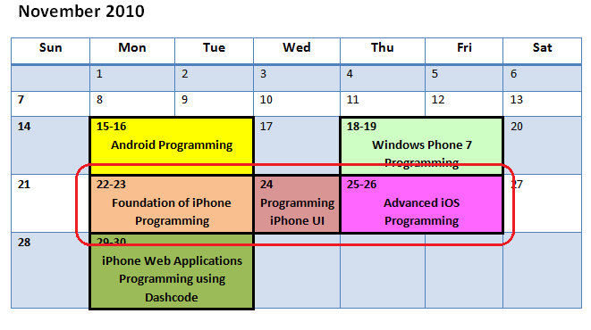 iPhone courses next week