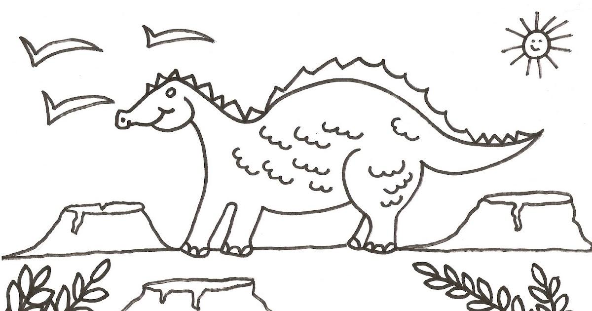 Lujo Dinosaurio Y Volcán Para Colorear Modelo - Dibujos Para ...