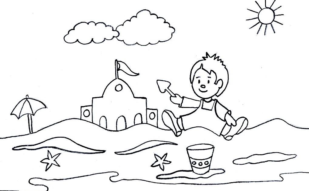 Excepcional Paisaje De Playa Para Colorear Composición - Dibujos ...