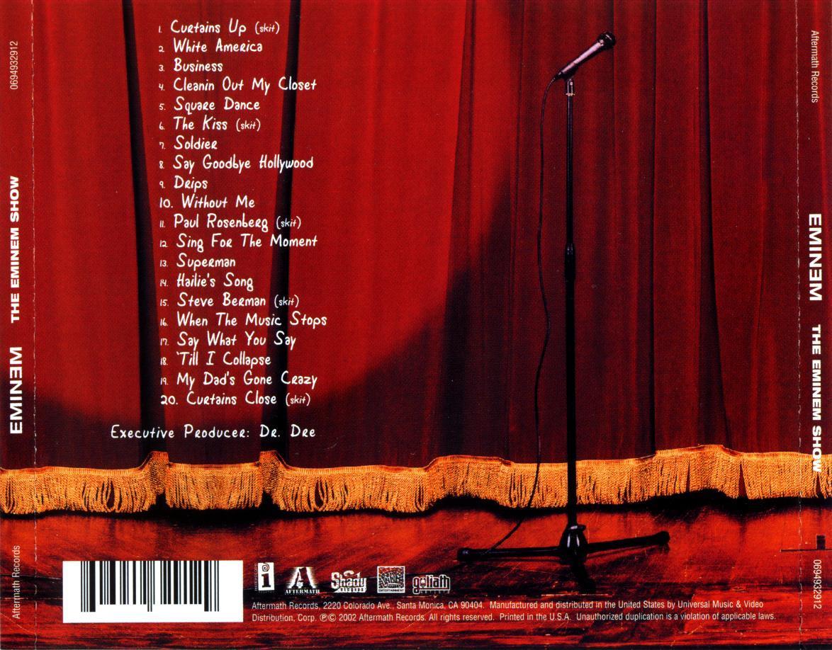 13. Superman (feat. Dina Rae) [5:50]14. Hailieu0027s Song [5:20]15. Steve  Berman (skit) [0:33] 16. When The Music Stops (feat. D12) [4:28]
