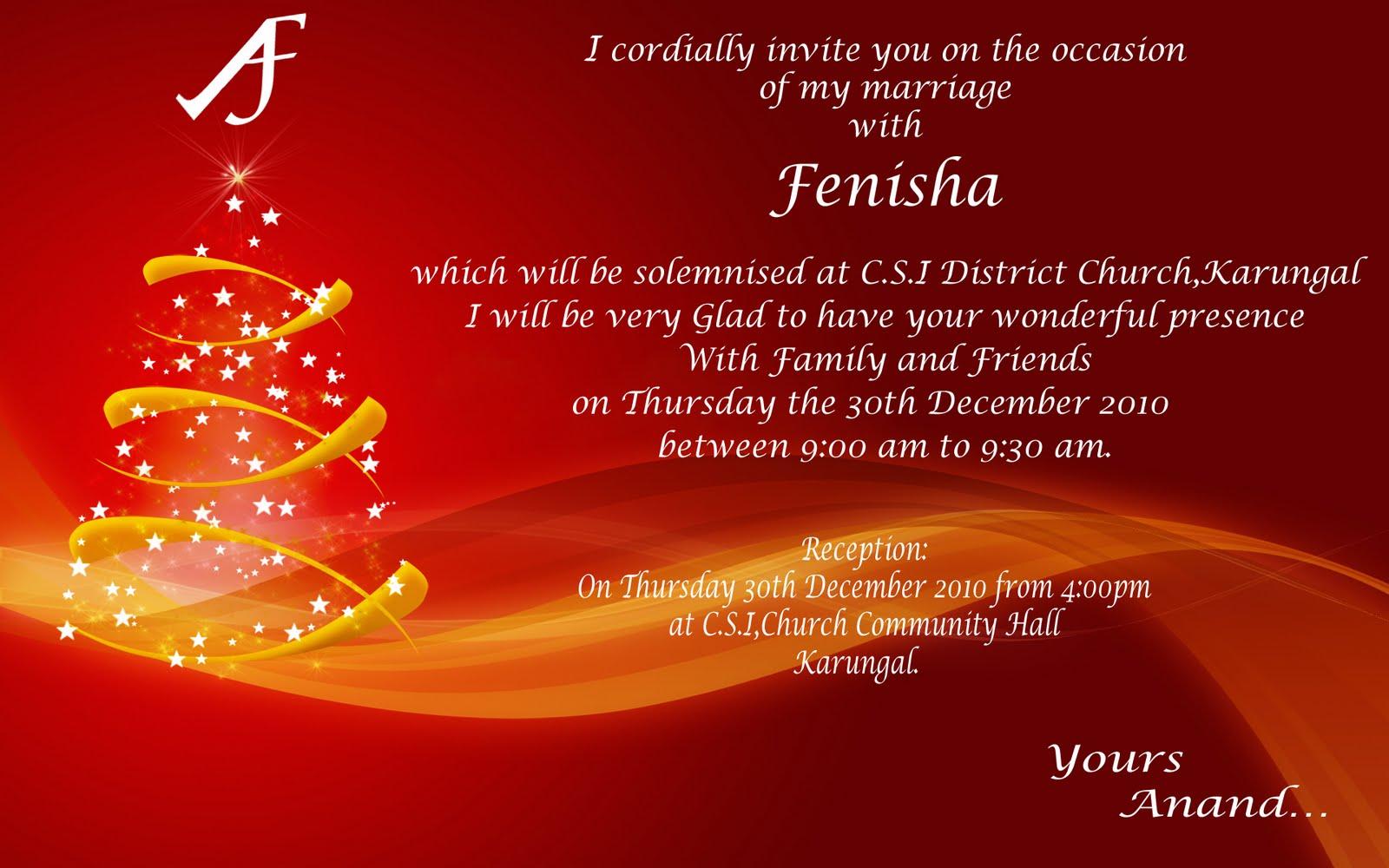 Anand Weds Fenisha: Wedding Invitation...:-)