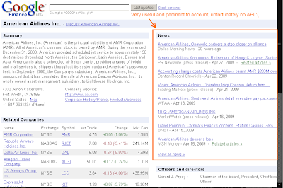 Google Finance with ideal account News