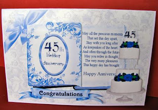 tropikal artz 45th wedding anniversary card