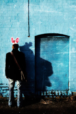 guy in pink bunny ears, bad bunny, rabbit ears, photography