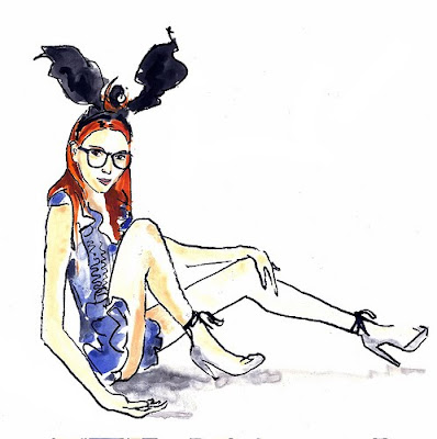 Blue Logan fashion illustration, bunny ears, Louis Vuitton Bunny Ears 2009