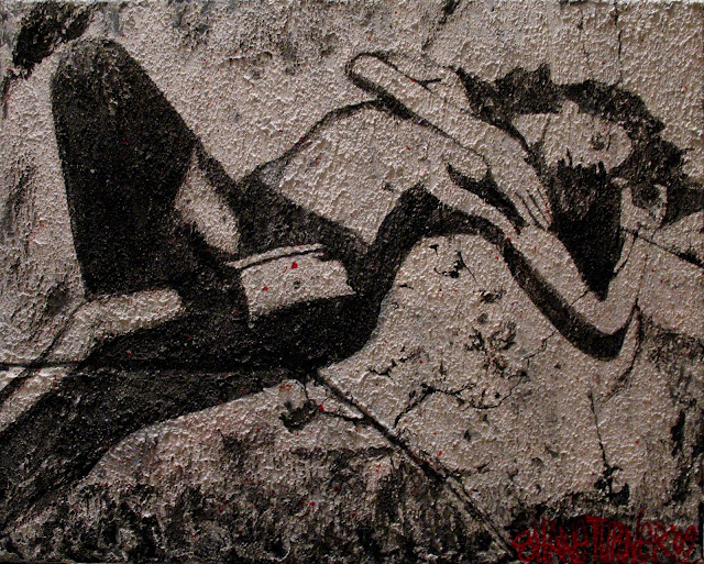 Painting of girl lying on ground in stockings covering breasts with arm. Painted on a white grunge styled rough cement texture background canvas with red spatter with black acrylic paint figure.