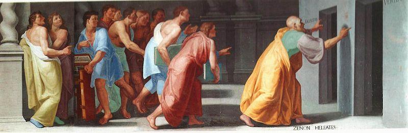 Зенон показывает ученикам двери к Истине и Лжи. Фреска в библиотеке Эскориала