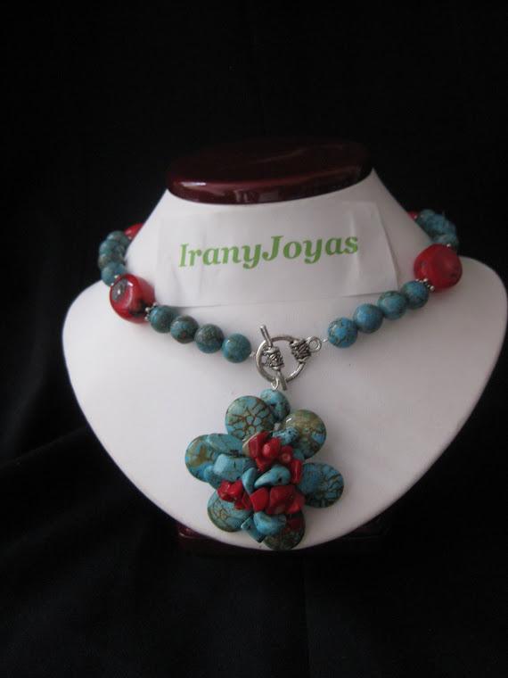 C11092 Collar Flor turqueza y Coral