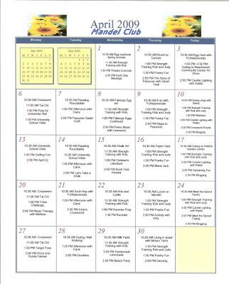 Adult Day Center - April 2009 Calendars