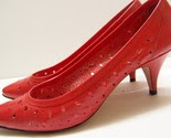 Vintage 1980s Spicy Red Leather Heeled Pumps With Tear Drop Design -$26-