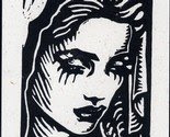 SALE - Madonna II - Hand Made Greeting Card Block Print  -$2.75-