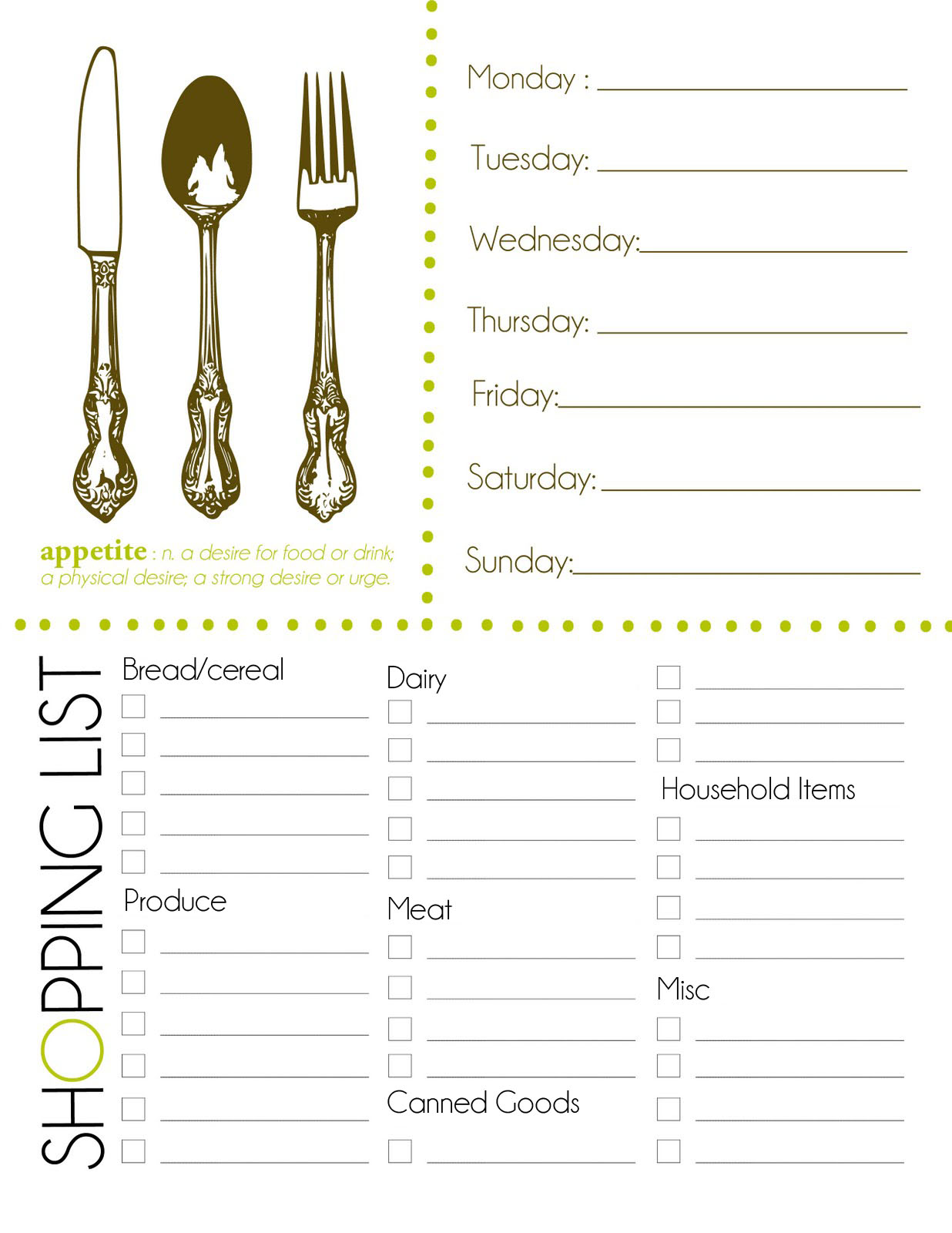 Grocery Shopping List Printable Free printable shopping list
