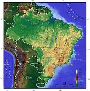Brazil physical map showing landscape