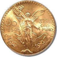 Mexican fifty pesos gold coin