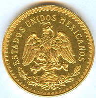 50 Mexican gold pesos coin