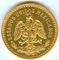 50 Mexican gold pesos coin