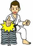 Martial Arts one hand karate chop through bricks clip art