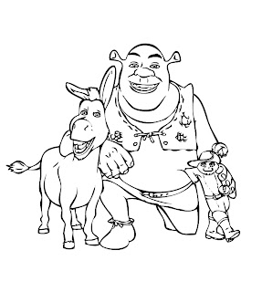 Free Shrek coloring pages with Donkey