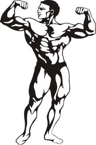 Black and white muscle man clip art of a flex pose