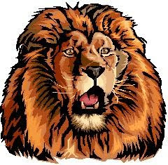 Look at the beautiful mane on this lion clip art image
