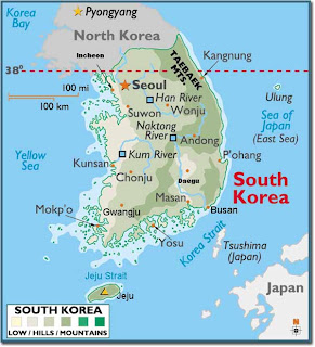 Map of Korea, South