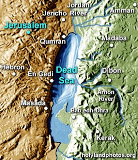 Dead Sea map of the Holy Land and Jordan