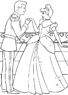 Cinderella having her hand kissed by Prince Charming in this coloring sheet