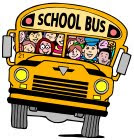 Clip art of school bus driving on two wheels