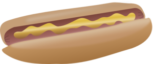 Clipart image of simple mustard hot dog