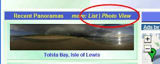 recent panorama listing on homepage