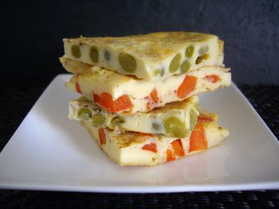 omelettes petits pois et poivron