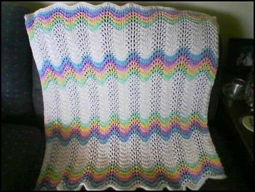 Wishing I Was Knitting At The Lake Feather And Fan Rainbow Baby Blanket