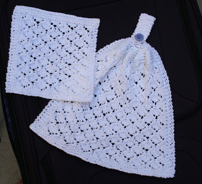 Free Knitted Hanging Dish Towel Patterns : Wishing I was Knitting at the Lake: Bridal Shower Lace Kitchen Hanging Hand T...